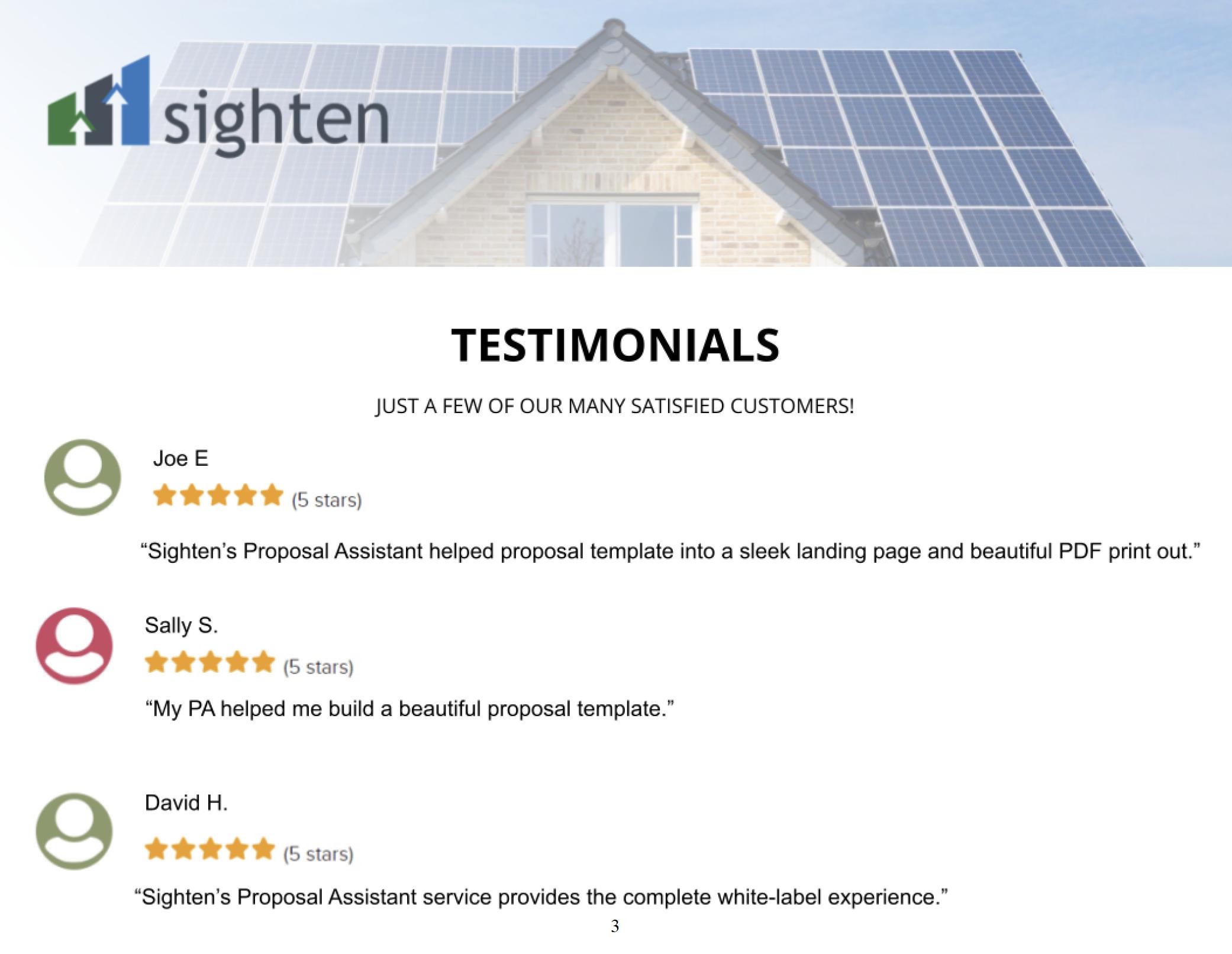 Custom Solar Testimonials Page